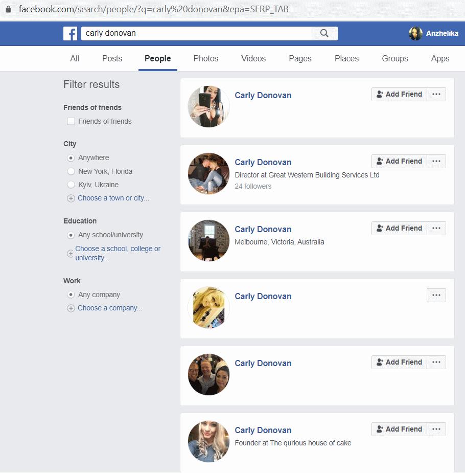 Carly Donovan Facebook Profile