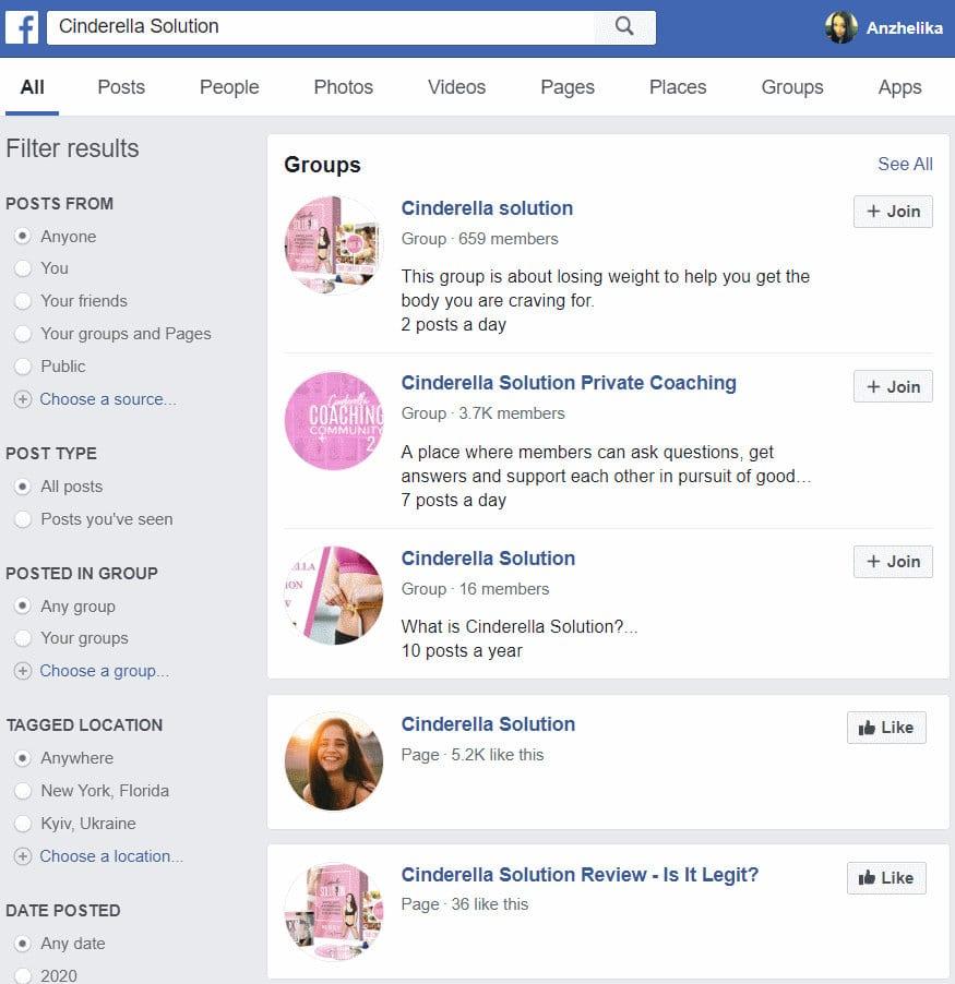 facebook Cinderella Solutions Group Scams
